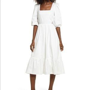 WAYF Puff Sleeve Cut Out White Midi Dress